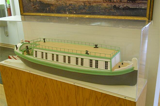 6 to 10 Trail System Inside the visitor center museum A canal boat model