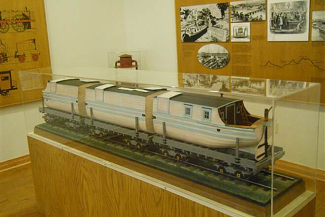 6 to 10 Trail System Inside the visitor center museum A canal boat on flatcar model