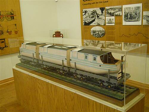 6 to 10 Trail Inside the visitor center museum A canal boat on flatcar model