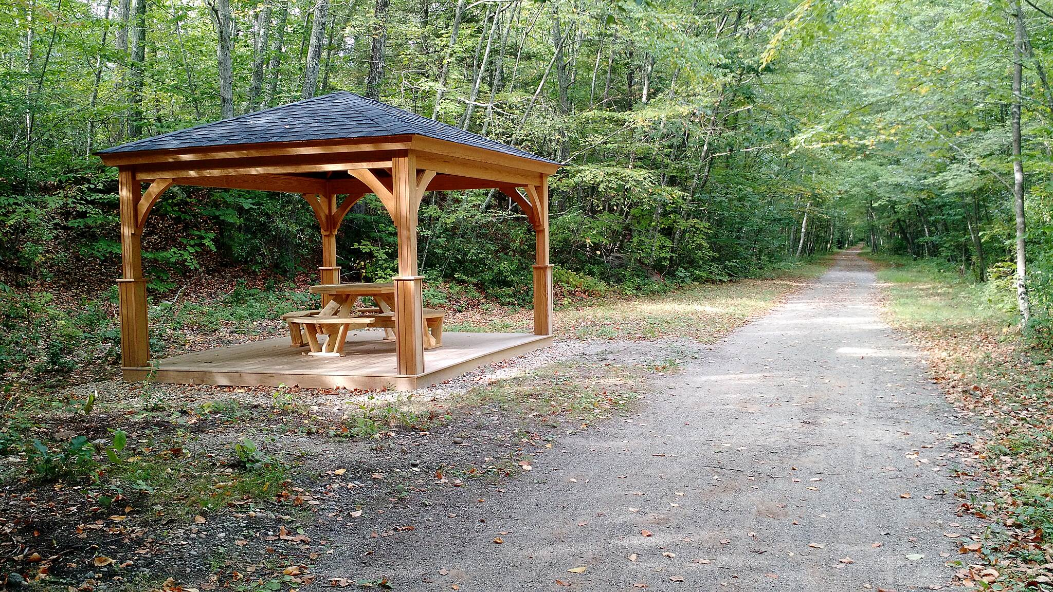 Air Line State Park Trail Covered Pavilion Newly installed covered pavilion on the Airline Trail South