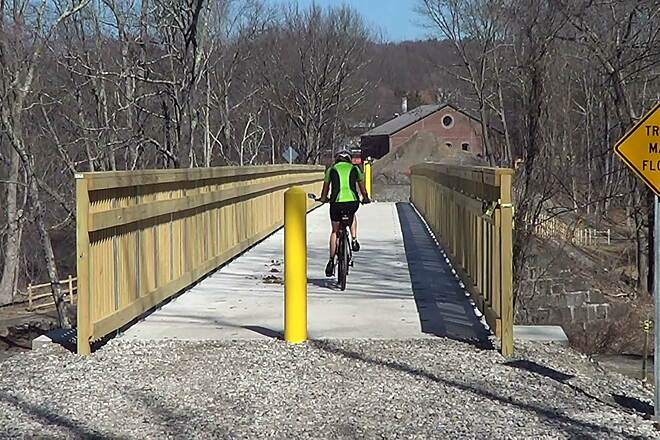 Air Line State Park Trail Willimantic River Bridge The Airline Trail South is now connected with the Airline Trail North with the completion of the new and beautiful Willimantic River Bridge.