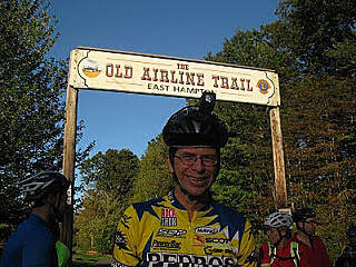 Air Line State Park Trail Terminus Sign,East Hampton 30m The author mugs in front of the terminus sign in East Hampton at 30 miles. - Photo credit to Thread City Cyclers, Cycling Club, Williamantic, Connecticut (TCC) 