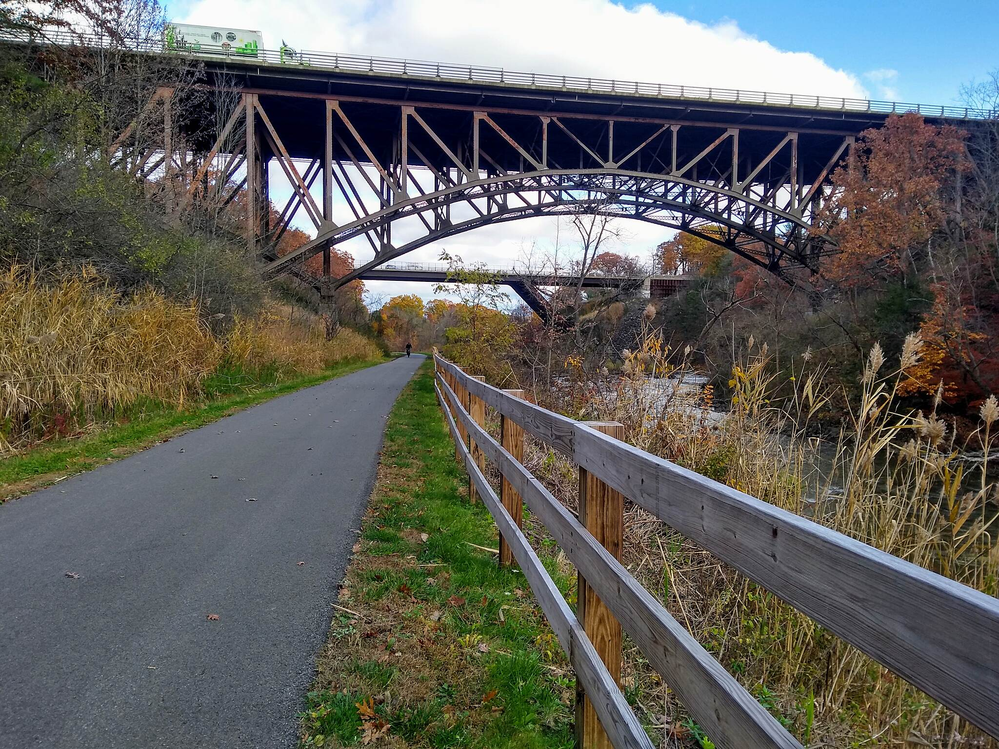 Albany County Helderberg-Hudson Rail Trail Fall 2019 Looking east, under the Thruway overpass.