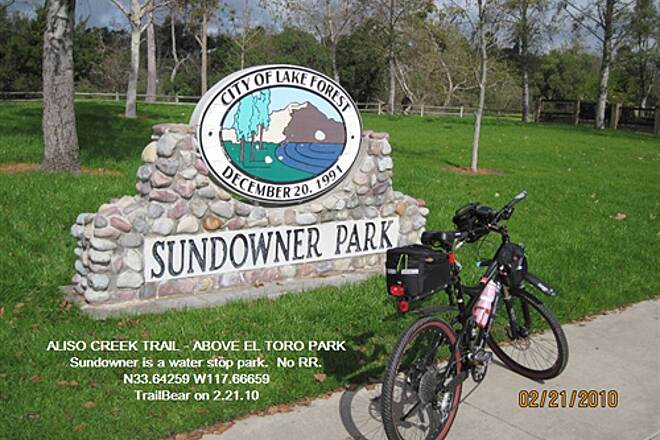 Aliso Creek Riding and Hiking Trail ALISO CREEK TRAIL - ABOVE EL TORO PARK Sundowner Park - water, tables, etc.  No RR.