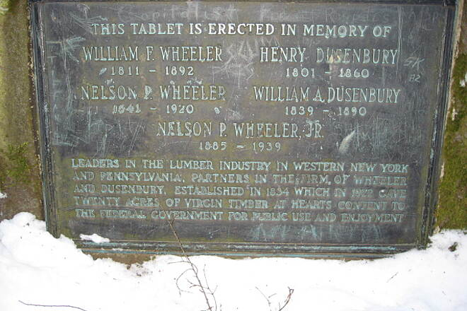 Allegheny National Forest - Heart's Content XC Ski Trail Heart's Content Tablet Tablet recognizing lumber industry leaders that donated the land at Heart's Content to the federal government.