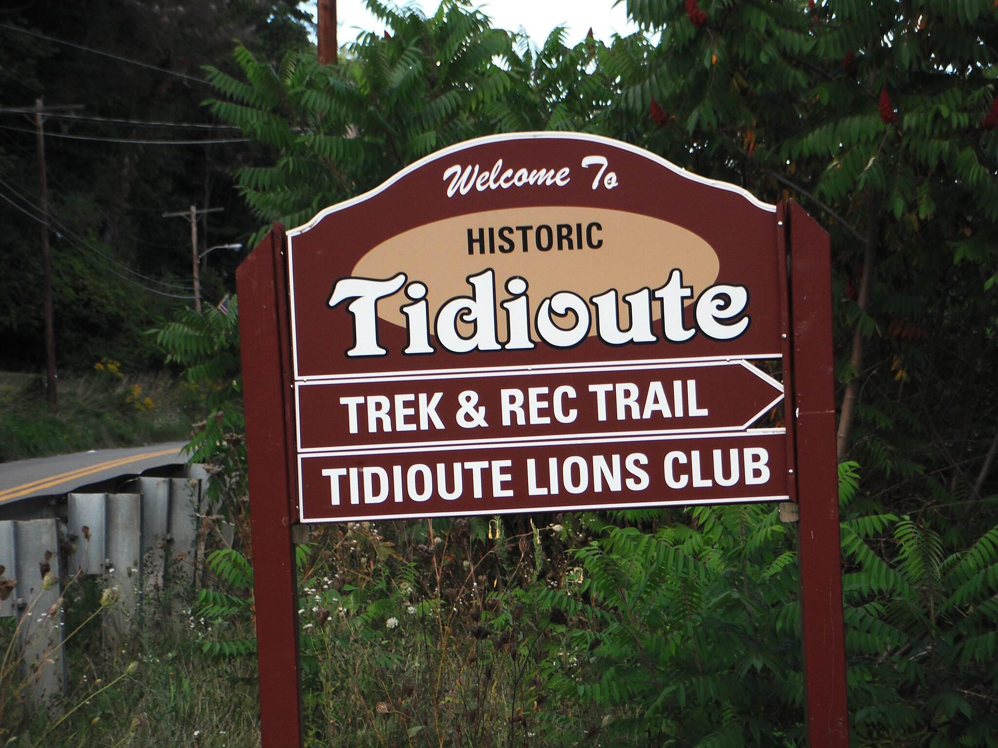 Allegheny National Forest - Tidioute Riverside RecTrek Trail  Tidioute Trek and Rec Trail Entrance sign at start point in Tidioute.