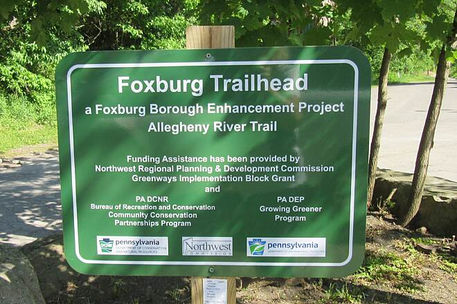 Allegheny River Trail Trail Sign Trail Sign in Foxburg