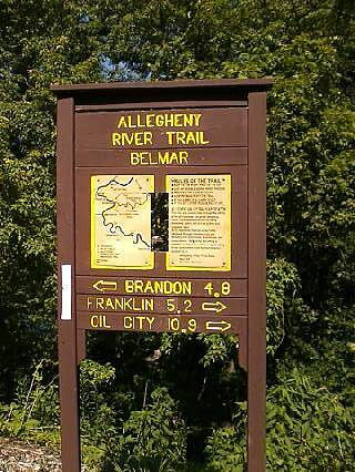 Allegheny River Trail Sign at Sandy Creek trail