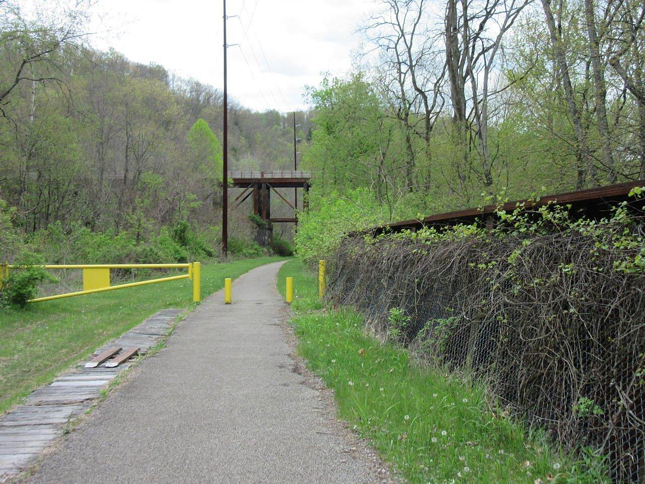 Allegheny River Trail Old Rail Trestle Crossing Sandy Creek an old trestle along the Allegheny River Trail.  You can see the Belmar Bridge up above.