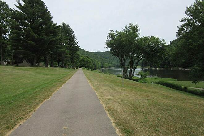 Allegheny River Trail St George area St George area.  Camps on one side, the Allegheny River on the other.