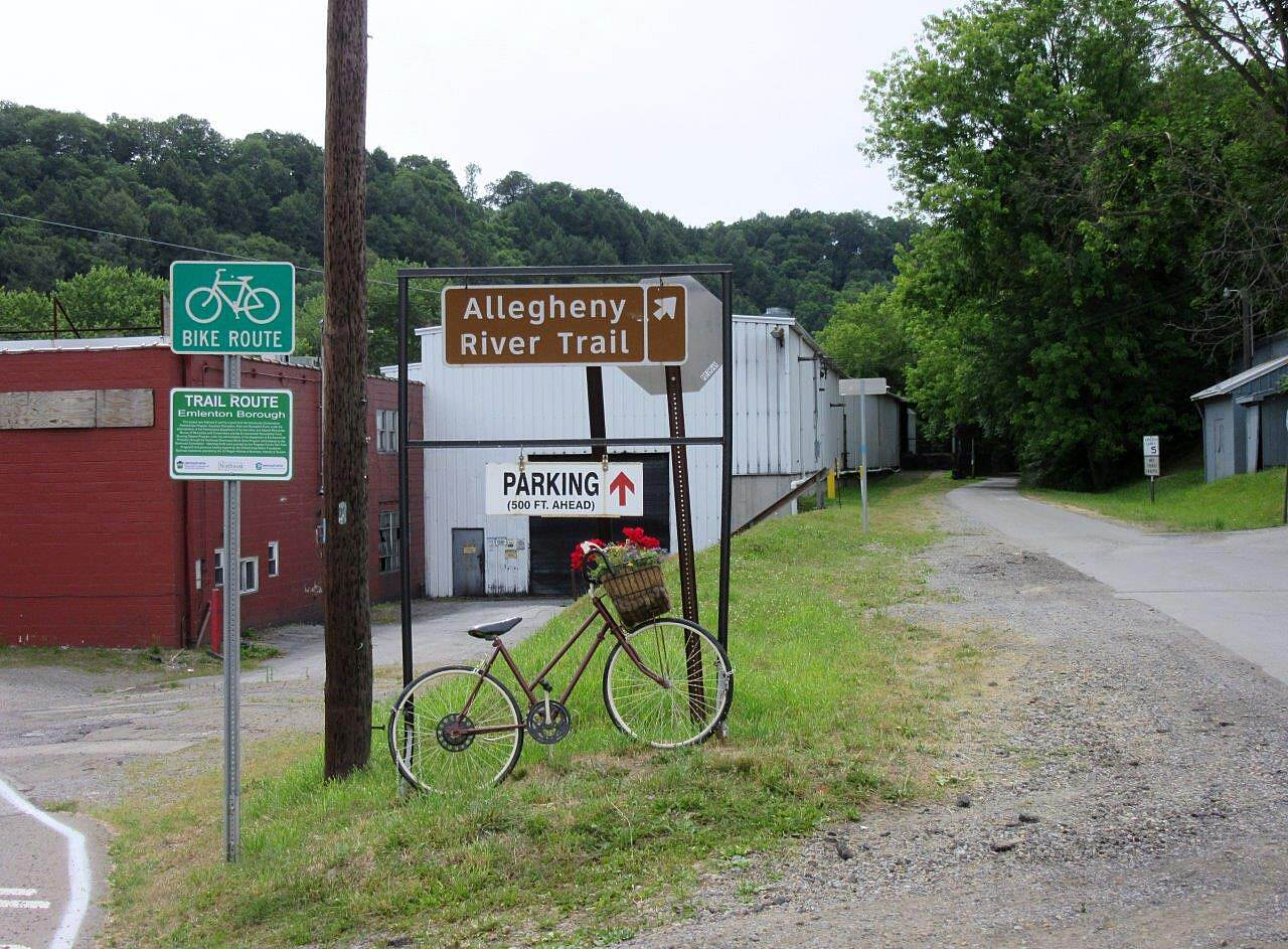 Allegheny River Trail Emlenton Trailhead Emlenton Trailhead and Parking.  There is a small lot closer to the trail with a port o john.  There is overflow parking in town near the Emlenton Post Office.