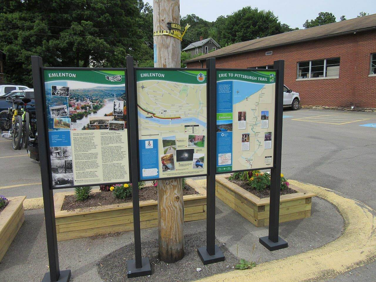 Allegheny River Trail New sign (s) in Emlenton New since the last time we were in Emlenton, Emlenton Erie to Pittsburgh trail.  With information about the area.  Located at the parking area just outside of the Emlenton Post Office.