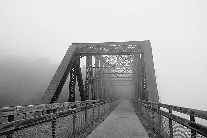 Allegheny River Trail Clarion River Trestle  A foggy morning along the trail near Parker.