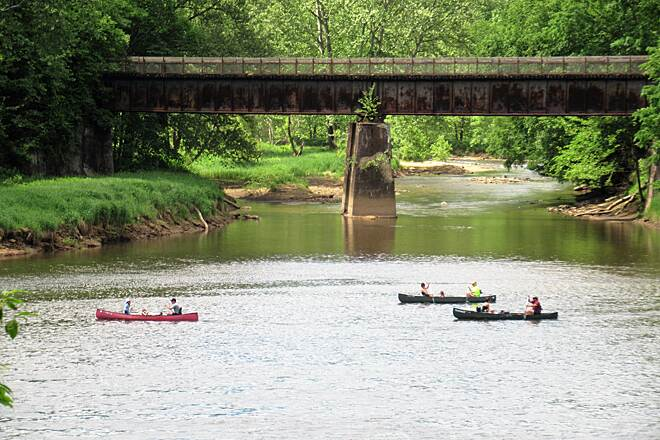 Allegheny River Trail Allegheny River  People enjoying the Allegheny River activities by kayaking and canoeing.  Sandy Creek Trail is in the background. June, 2020.
