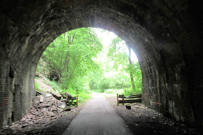 Allegheny River Trail Rockland Tunnel South Portal  Coming out of the Rockland Tunnel heading South