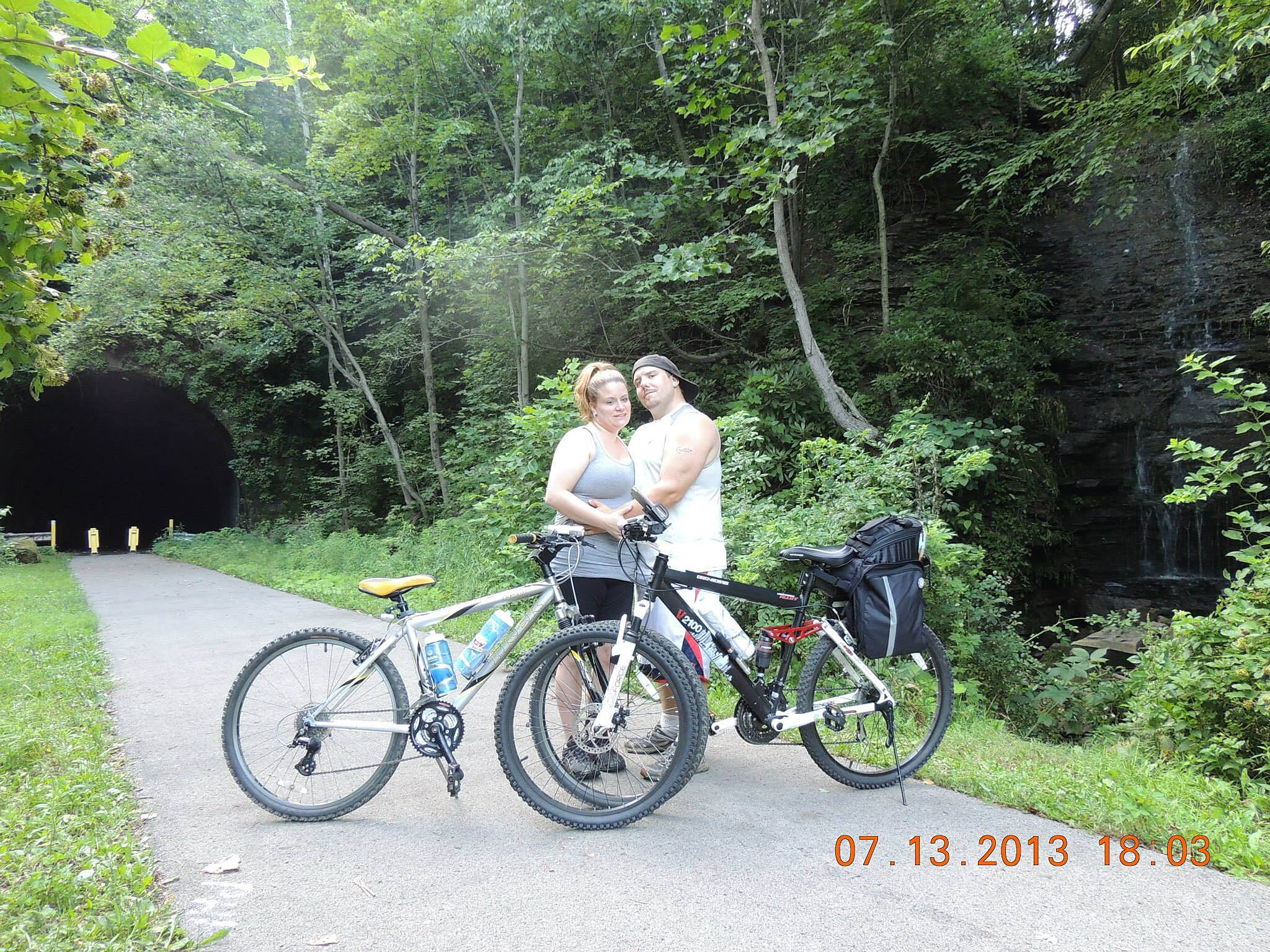 Allegheny River Trail waterfall and tunnel  Stop at the southern side of the kennerdale tunnel for a couples pic with the tunnel and waterfall while riding from Emelton to Kennerdale PA on the Allegheny River trail system