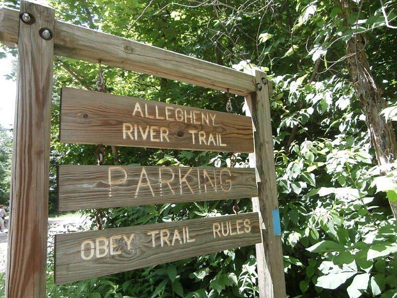 Allegheny River Trail Sign Sign at the parking area outside of the Rockland tunnel.