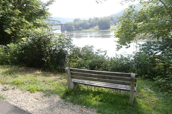 Allegheny River Trail Bench Bench along the river and trail
