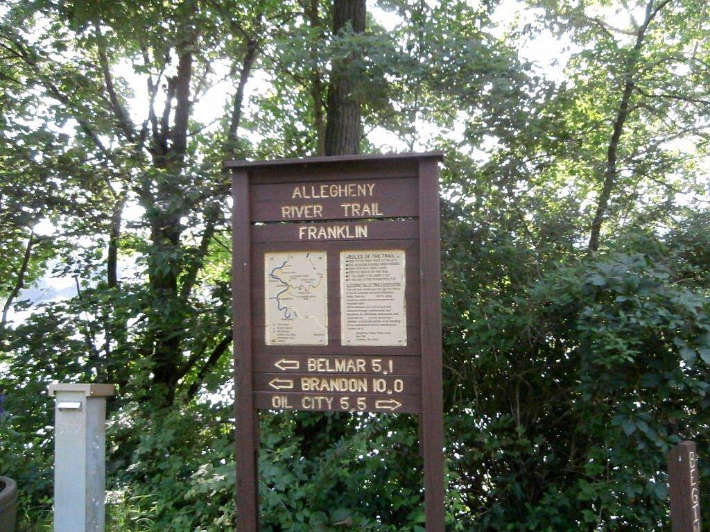 Allegheny River Trail Trail Sign Trail sign and milage chart