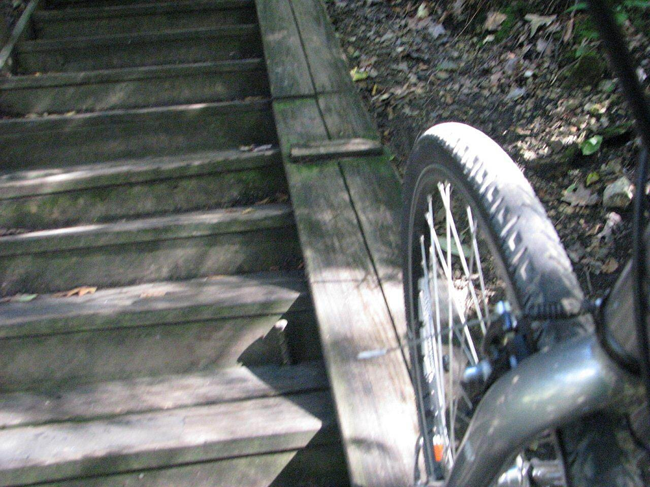 Allegheny River Trail bike steps bike steps from the trail to the bridge