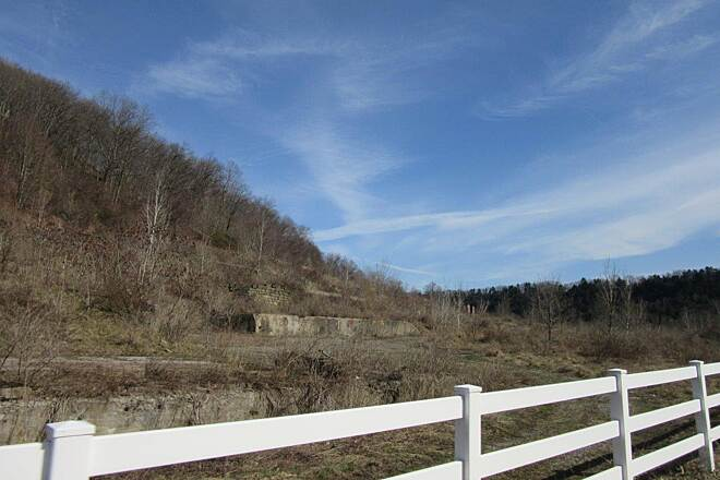 Allegheny River Trail Emlenton-April 2015 Fence at former industrial site, Emlenton PA  April, 2015