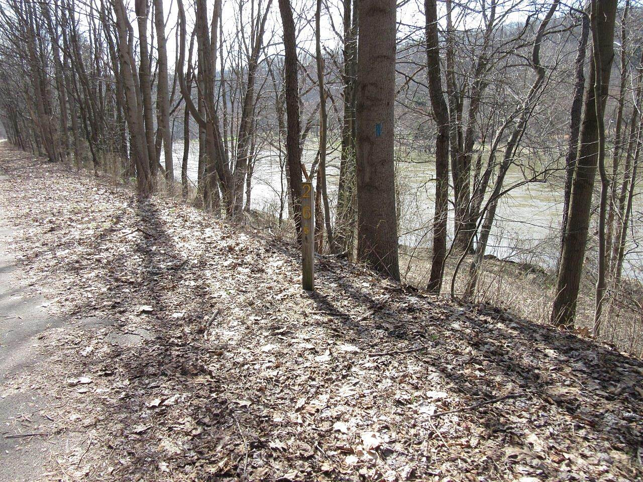 Allegheny River Trail Trail & River Trail runs along the Allegheny River - APril 2015