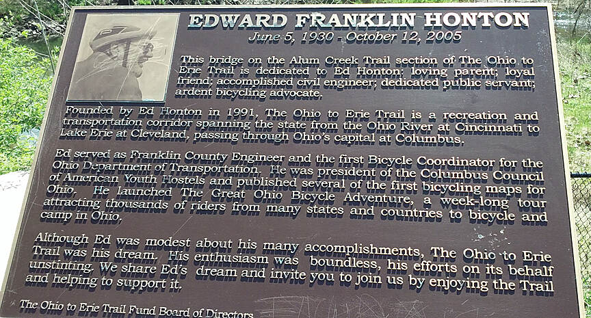 Alum Creek Greenway Trail Apr 2017 Memorial plaque to Ohio to Erie Trail founder Edward Honton beside a bridge over Alum Creek