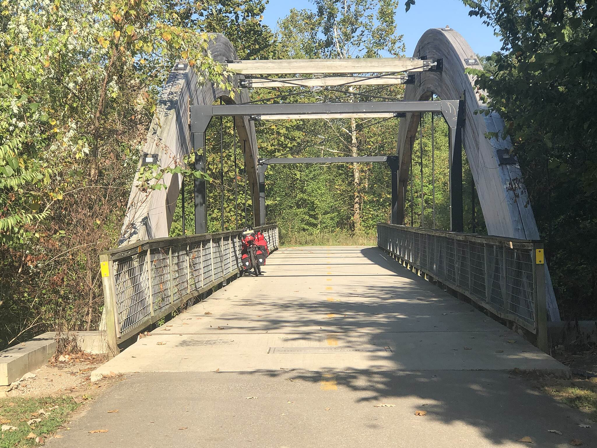 Alum Creek Greenway Trail Bridges That Can Handle the Load This is an example of the many bridges that cross over Alum Creek on this greenway trail.  Each is more than adequate in being able to handle the weight of a few bikes.  November 2019