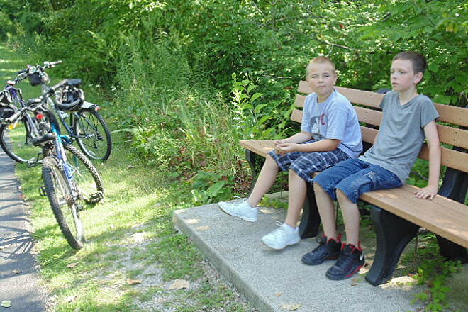 Alum Creek Greenway Trail A well deserved break My grandsons and I rode about 8 miles on the north end of the Alum Creek Trail and they made a mad dash for this bench upon first sight. They did however thoroughly enjoy every mile!