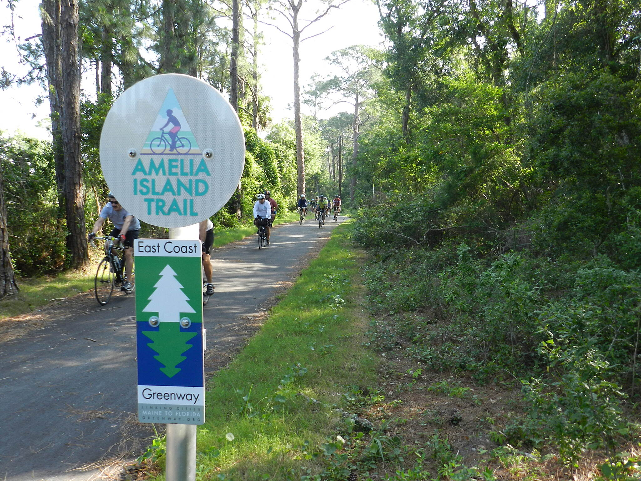 Amelia Island Trail Sign post shared by the AIT and East Coast Greenway This is the trail's southern entrance at Amelia Island State Park. Construction of the Big Talbot Island link will begin soon, allowing riders to continue south into Duval County and to Talbot Islands State Park via the Crady Bridge spanning Nassau Sound.
