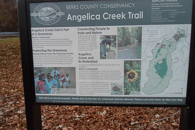 Angelica Creek Trail Angelica Creek Trail Kiosk providing information on the trail, located in Angelica Creek park near Alvernia University.