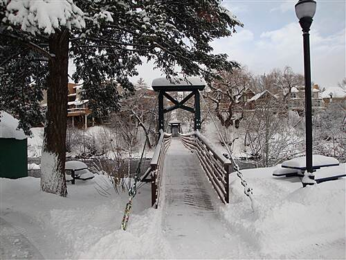 Animas River Trail Suspension Bridge Snow Cleared from Bridge
