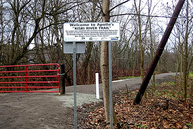 "Apollo's Kiski Riverfront Trail South entrance to ""Apollo's Kiski River Trail"" South entrance to 'Apollo's Kiski River Trail'"