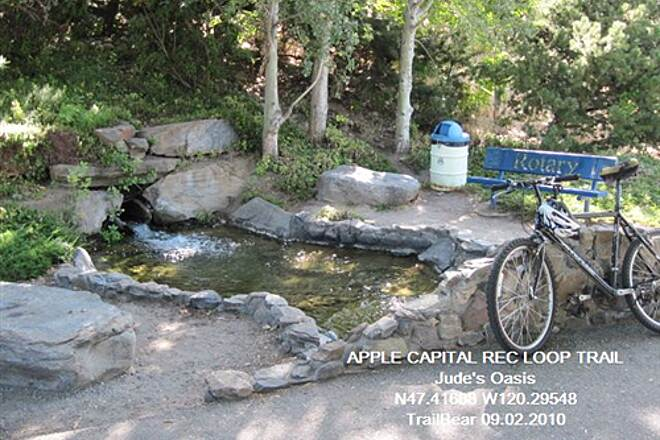 Apple Capital Recreation Loop Trail APPLE CAPITAL RECREATION LOOP TRAIL Shade, rushing water and a bench