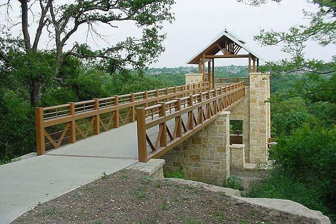 Arbor Hills Trail Pavilion with Bridge Photo provided by the City of Plano.