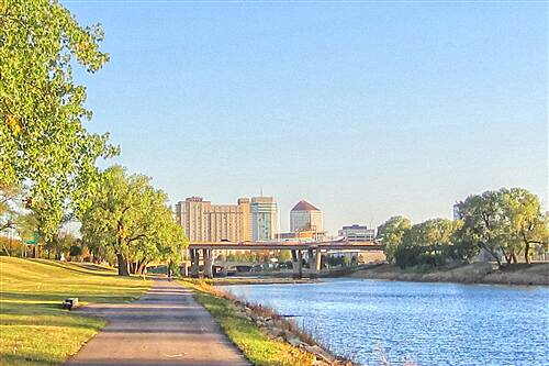 Arkansas River Bike Path W. Kellog Street Bridge in The Morning Trail northward looking at the US Rte 400 bridge