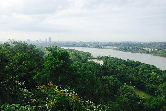 Arkansas River Trail Little Rock view Ft Roots spur View from Fort Roots spur up a hill .84 miles then left