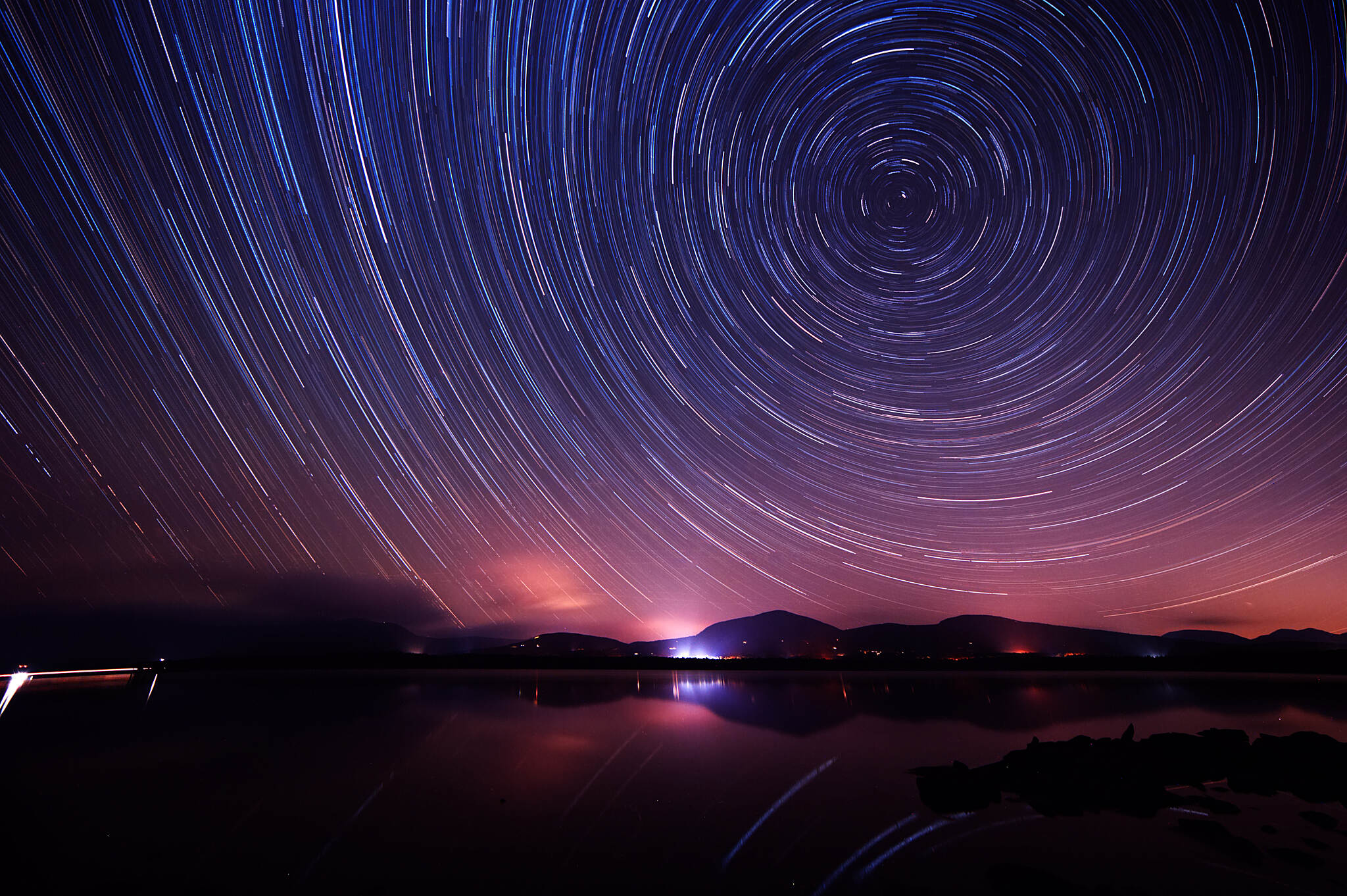 Ashokan Reservoir Promenade Star Trails over Ashokan Reservoir 40 seconds exposures, 140 images stacked