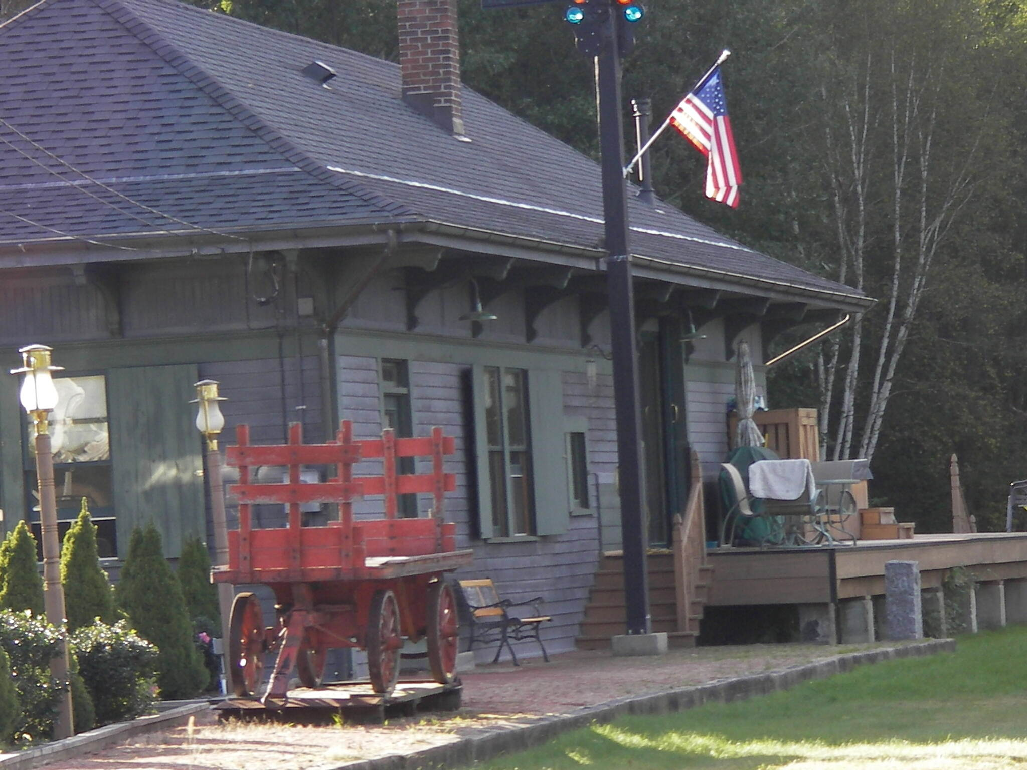 Ashuelot Rail Trail Converted station at Hinsdale You ride by both the station and cabooses.