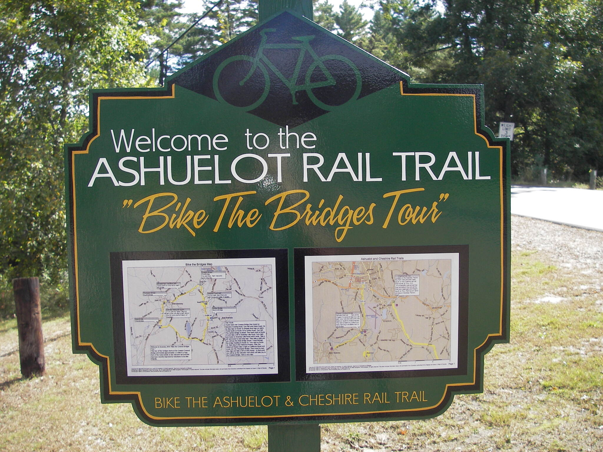 Ashuelot Recreational Rail Trail Sign near Cresson Bridge South of Keene