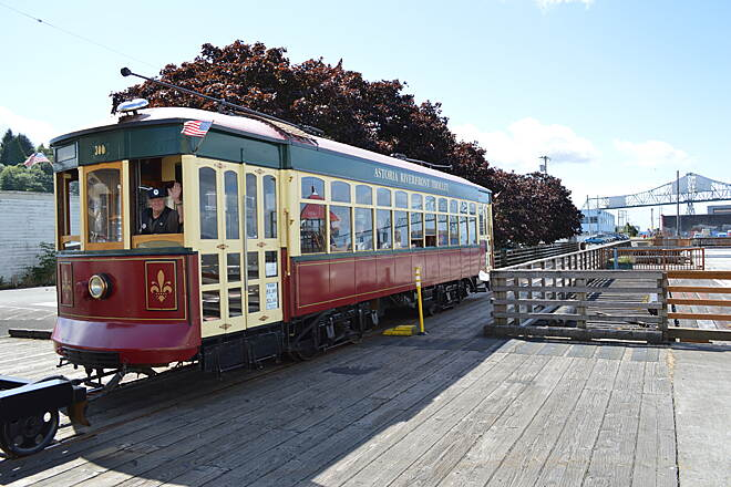 Astoria Riverwalk Astoria Riverfront Trolley You'll get a little history lesson on the trolley from the volunteer conductors. It runs only as far as 39th Street, but the trail and tracks continue another half mile until you reach the turnaround near Tongue Point.