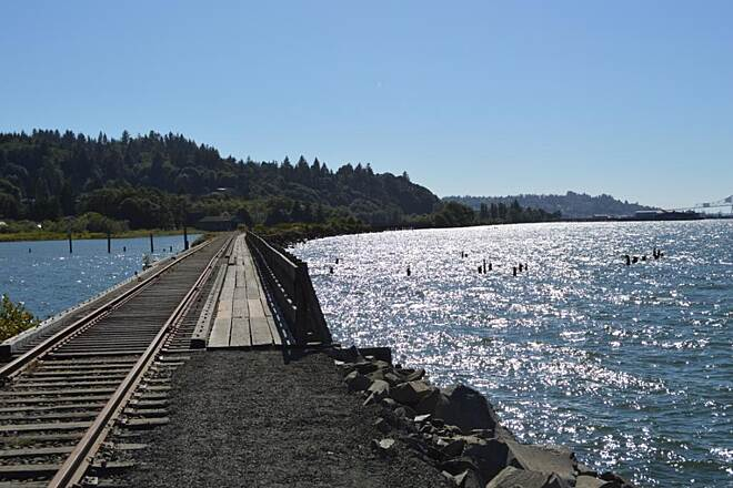 Astoria Riverwalk Tracks parallel part of the trail