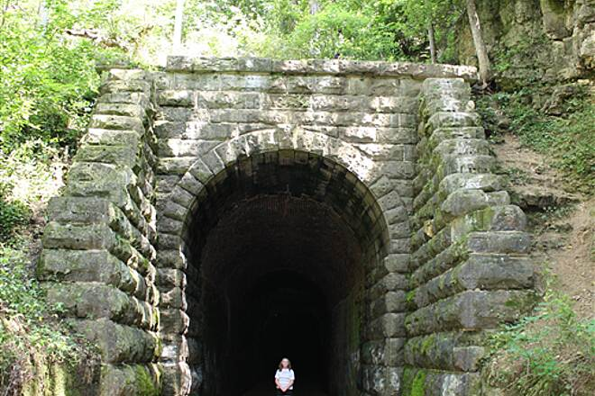 Badger State Trail Used Wife to show size.        Taken 7-29-09 Wife is 5' 3' This Tunnel is HUGE!. Seen birds here but was focus on  this tunnel.