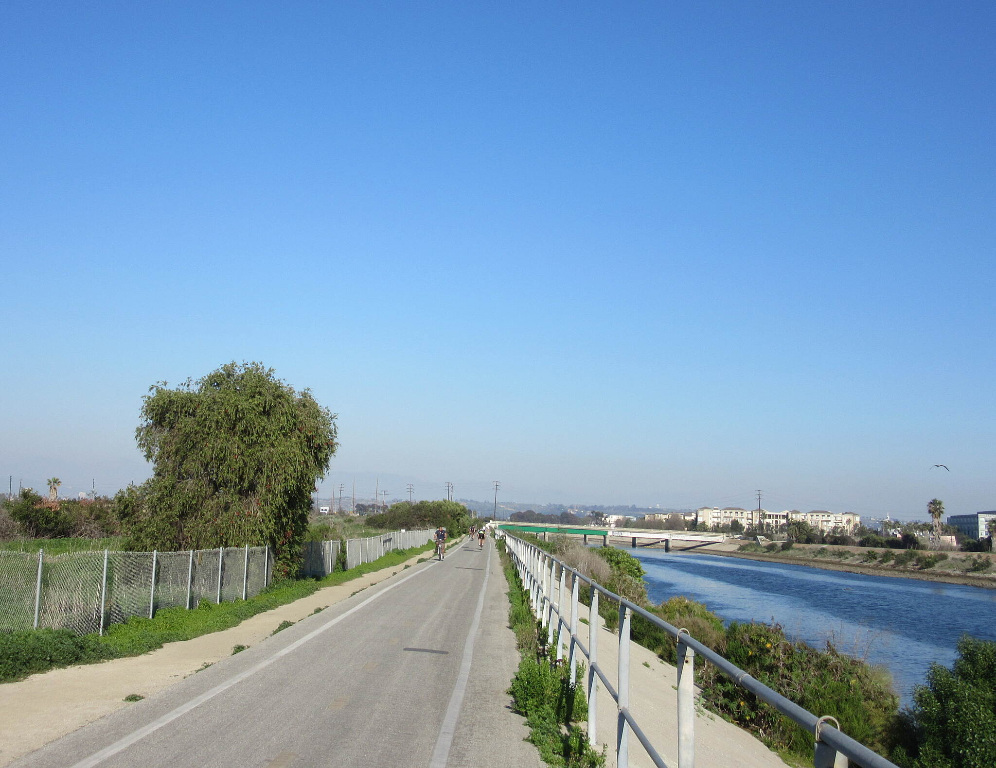 Ballona Creek Bike Path west end of trail passing through Ballona wetlands
