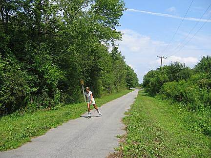 Ballston Veterans Bike Path Ballston Bicyle Path An in-line skater heading south from the Ballston Outlet Road trailhead.