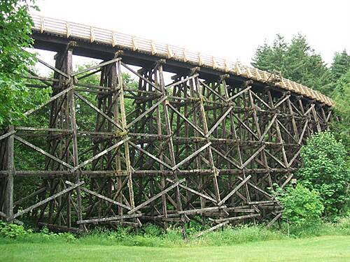 Banks-Vernonia State Trail Buxton Trestle from below  - 6/09 Timber trestle - a vanishing breed