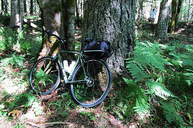 Banks-Vernonia State Trail Giving the Tricross a rest. Taking a mid-afternoon break high in the Costal Range.