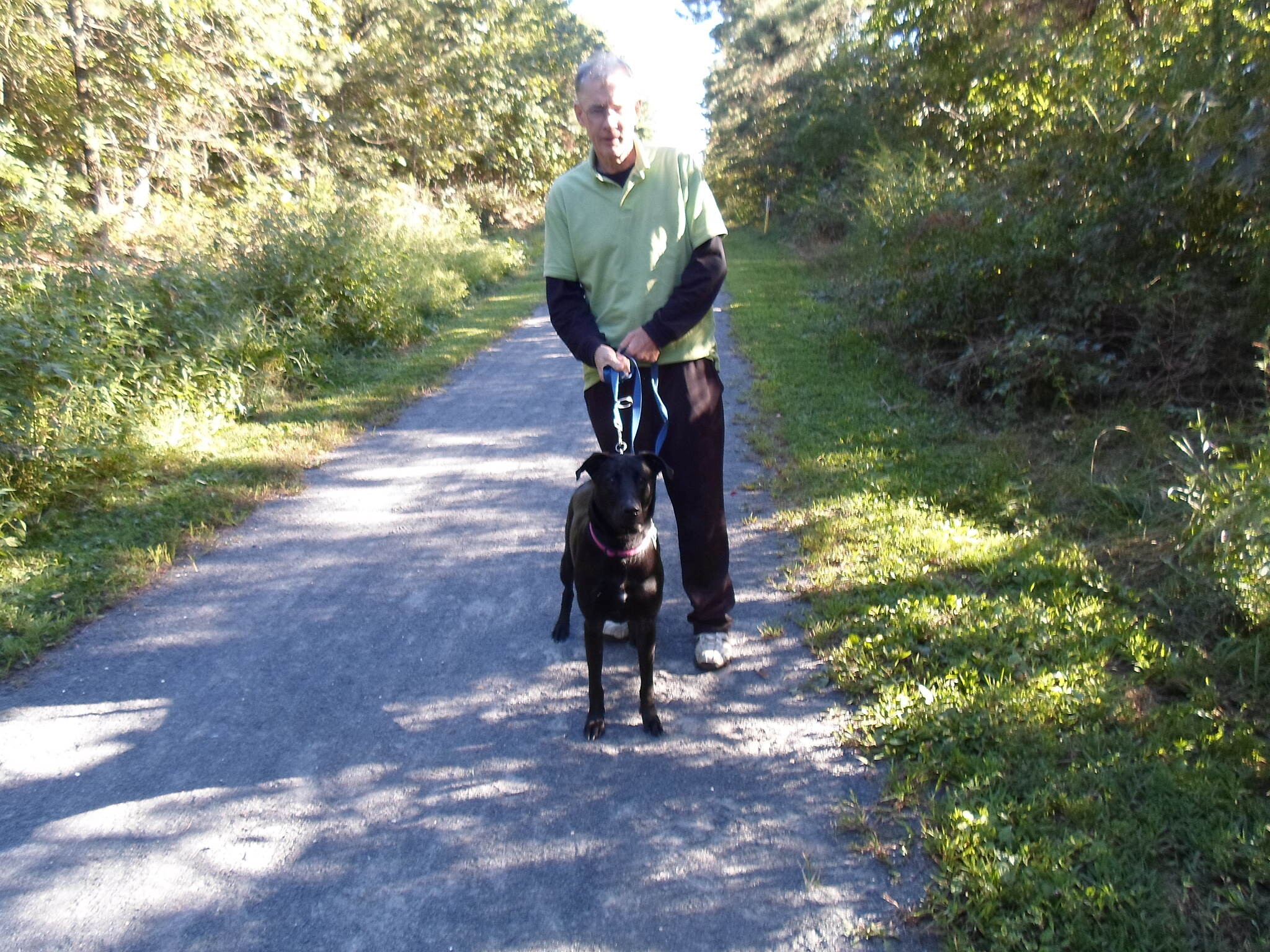 Barnegat Branch Trail Barnegat Branch Trail Man and his dog enjoying a stroll on the Berkley (northern) segment of the trail.