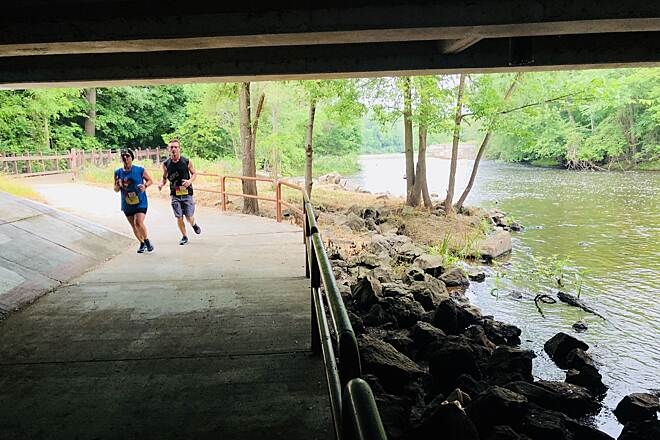 Battle Creek Linear Park Battle Creek Linear Park  This picture is showing you the trail going under the bridge and the perfect view of the Wagner Drive Waterfall. Facebook has a check-in. Wagner Drive Waterfall