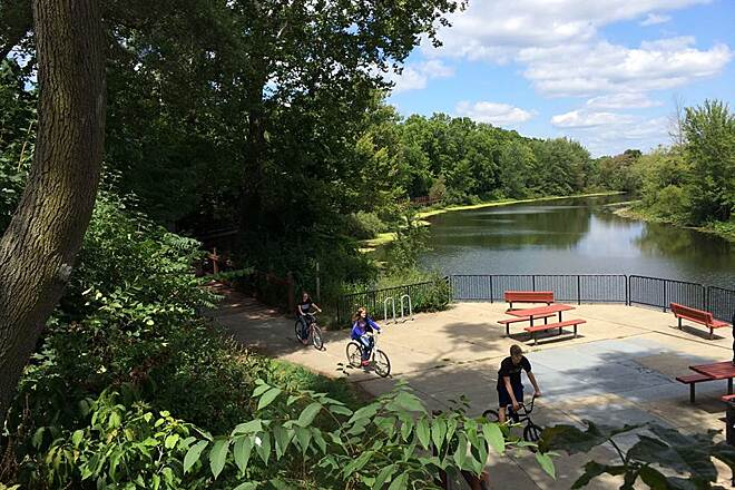 Battle Creek Linear Park biking along Wagner Drive